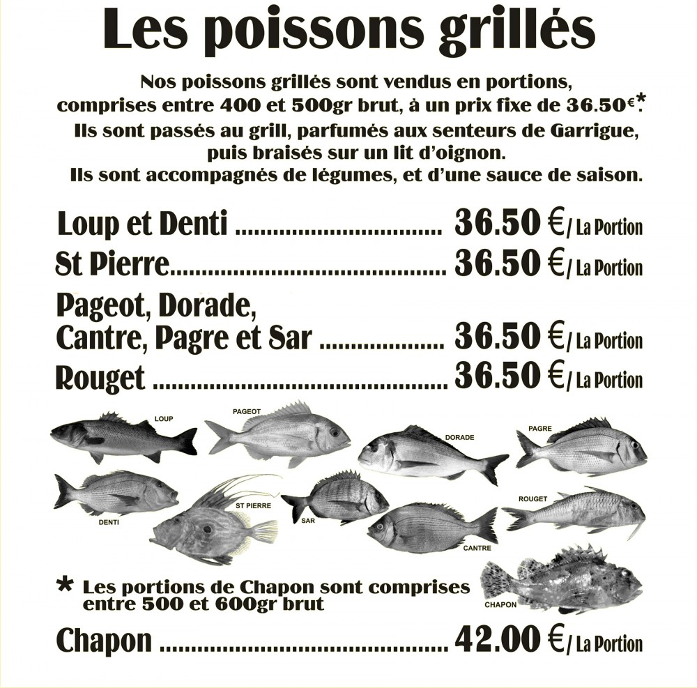 La carte du restaurant la trinquette de port cros